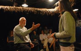 T. Schreiber Studio for Film & Theatre founder Terry Schreiber, seen here teaching an acting class. A March 27 gala celebrates Schreiber's 80th year and benefits the Studio. Photo by Gilli Getz.